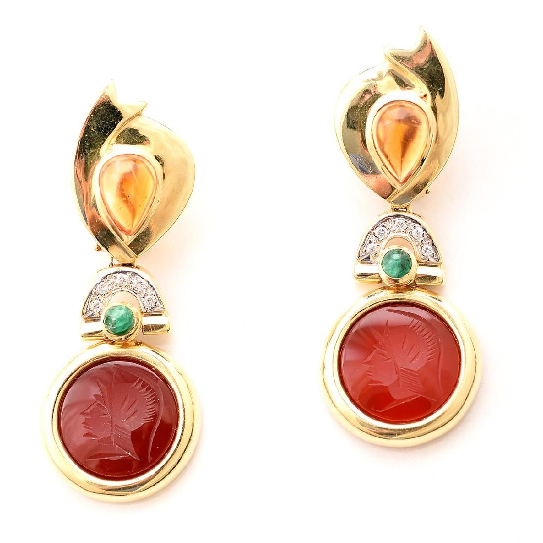 Pair of Multi-Stone, Diamond, 14k Yellow Gold Earrings.