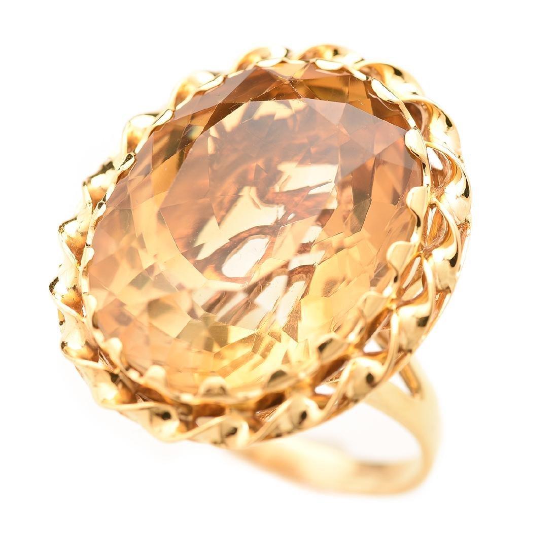 Citrine, 14k Yellow Gold Ring.