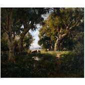 "William Keith ""Cattle in Grove near San Rafael"" oil on"