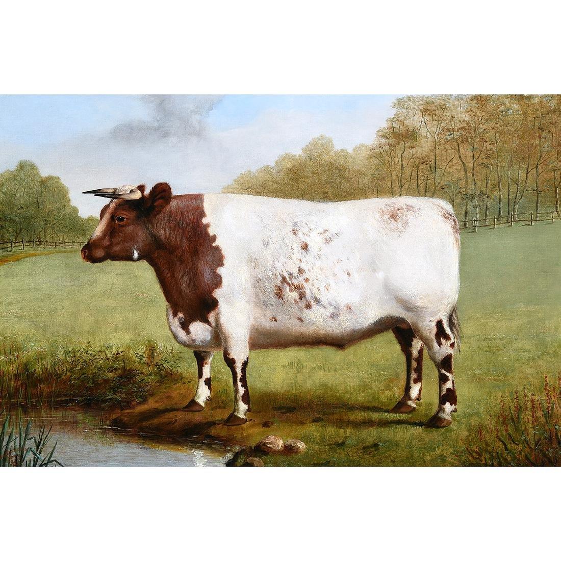 "American School ""Prized Bull"" oil on canvas"