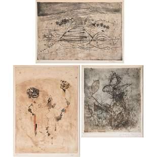 "Johnny Friedlaender 3 ""Untitled Abstract"" aquatint"