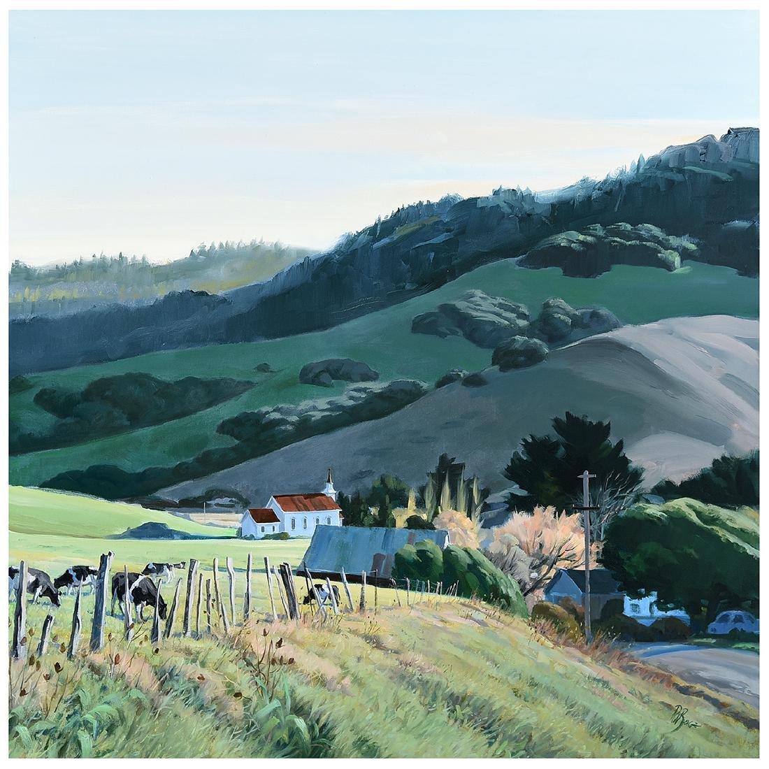 """Ralph Borge """"Hillside Farm"""" oil on canvas"""