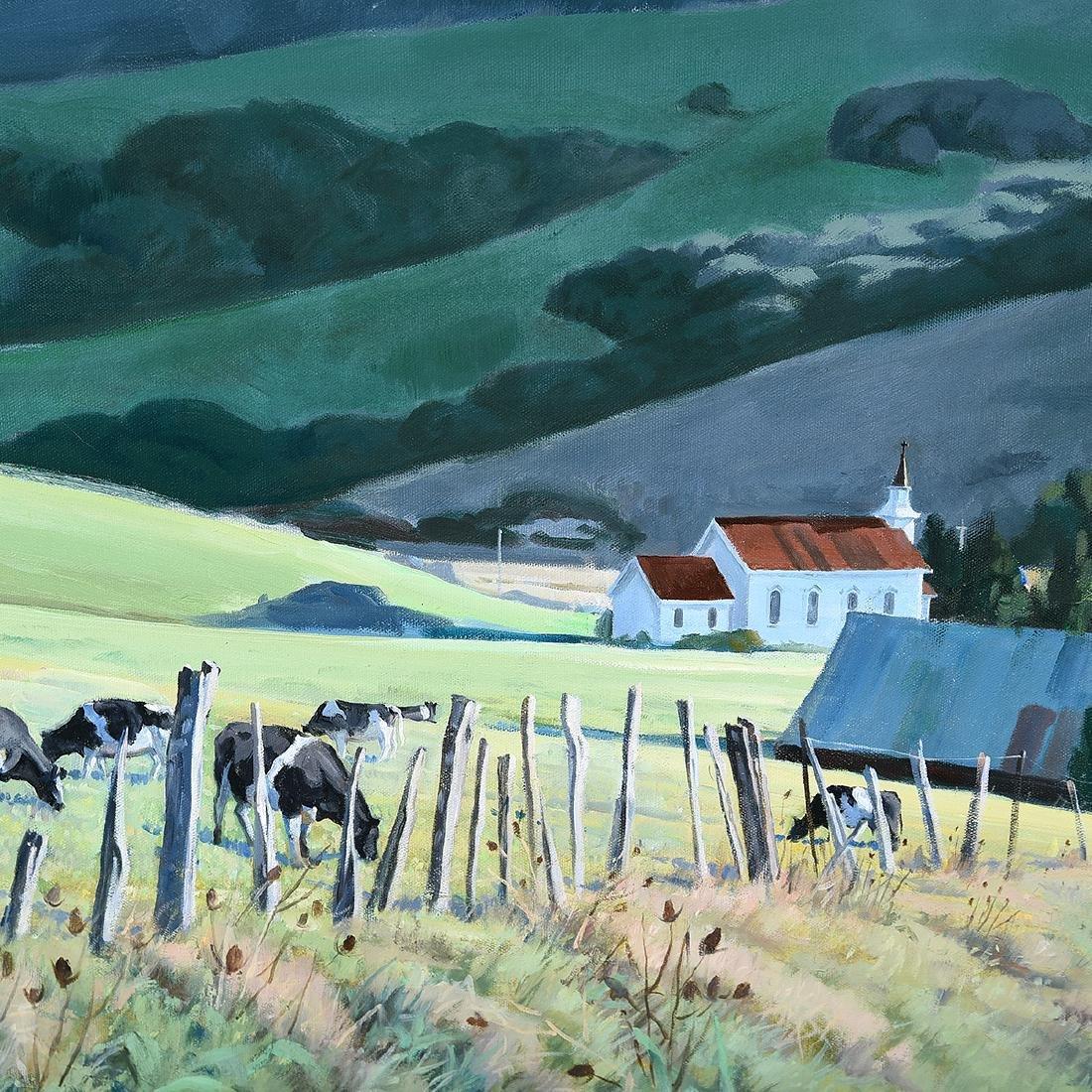 """Ralph Borge """"Hillside Farm"""" oil on canvas - 3"""