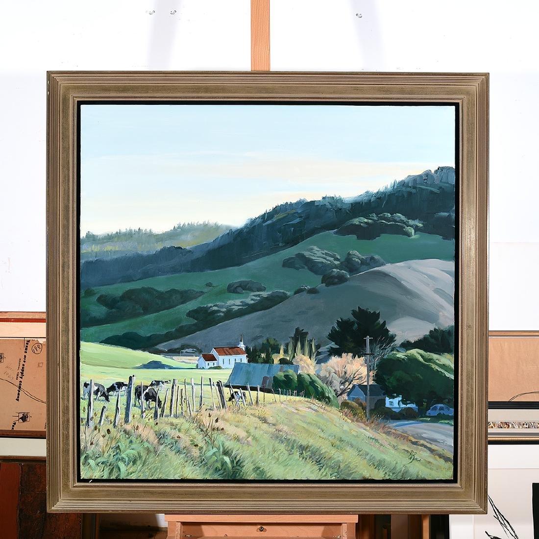 """Ralph Borge """"Hillside Farm"""" oil on canvas - 4"""