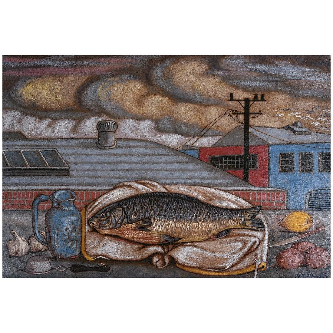 """Norbert Schlaus """"Still Life with Fish"""" oil on canvas"""