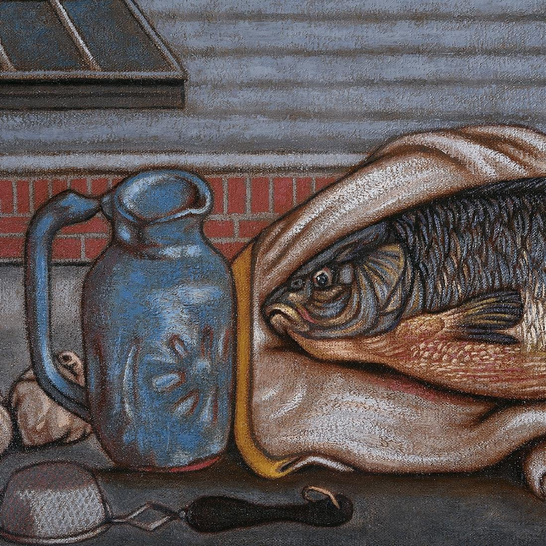 """Norbert Schlaus """"Still Life with Fish"""" oil on canvas - 3"""