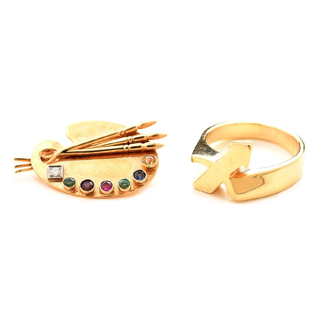 Collection of Two Diamond, Multi-Stone, 14k Yellow Gold
