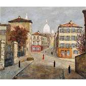 """Style of Maurice Utrillo """"Untitled"""" oil on canvas"""