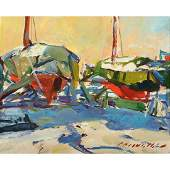 "Charles Movalli ""Dry Dock"" oil on masonite"