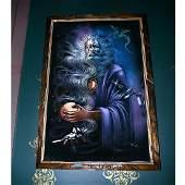 Velvet Painting of Wizard