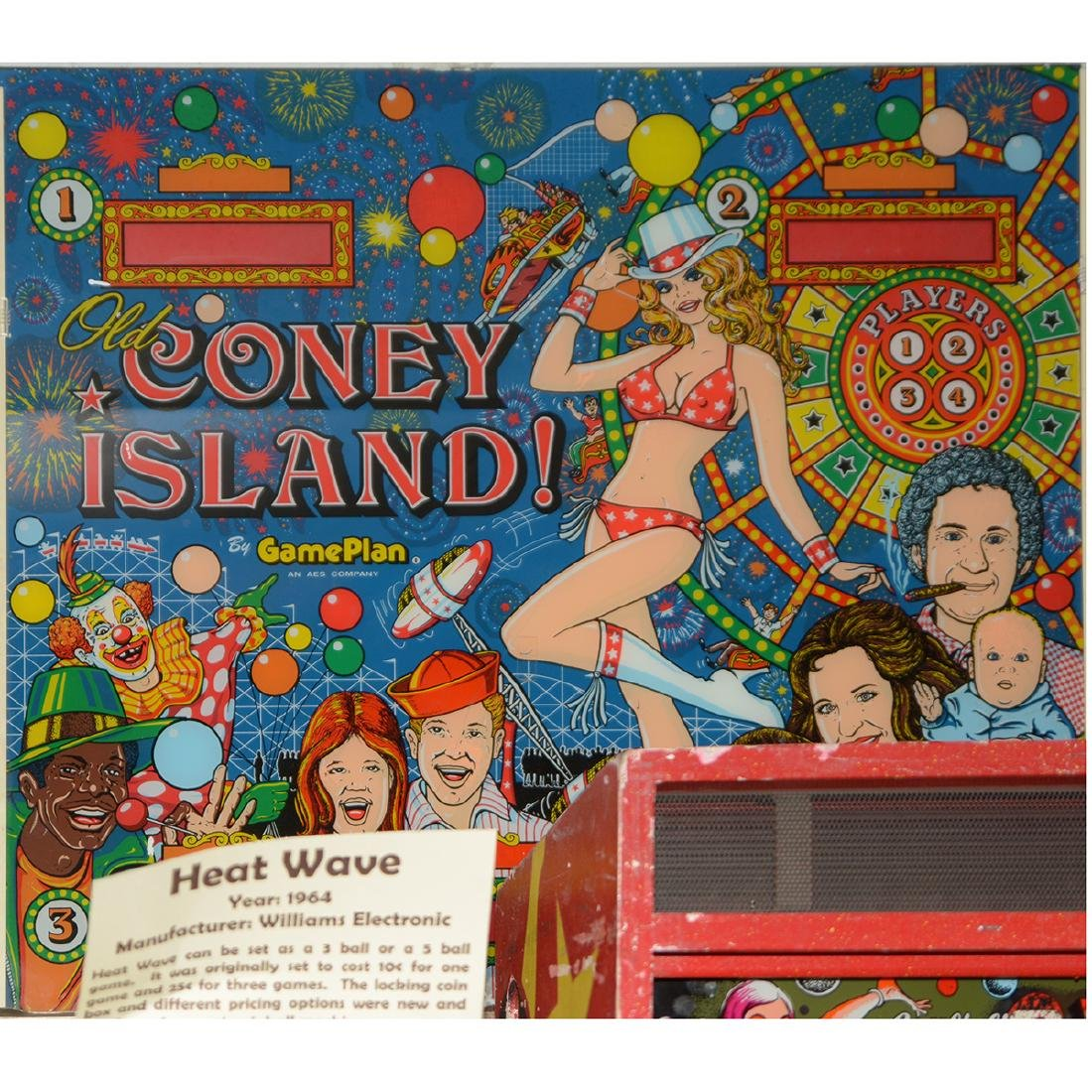 """Old Coney Island Pinball Backglass, by Gameplan AES Co"