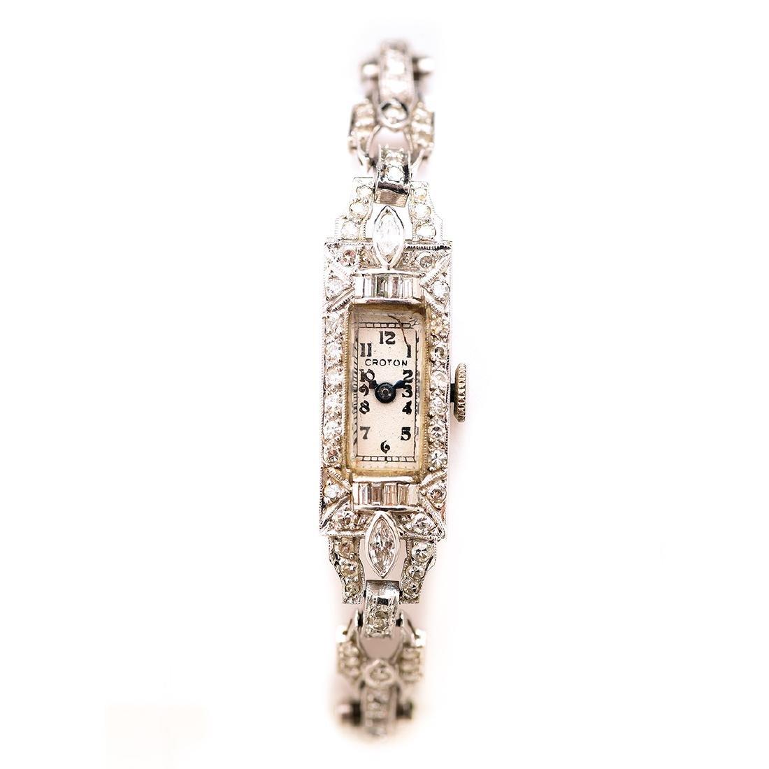 Ladies Croton Diamond, Platinum, 14k White Gold