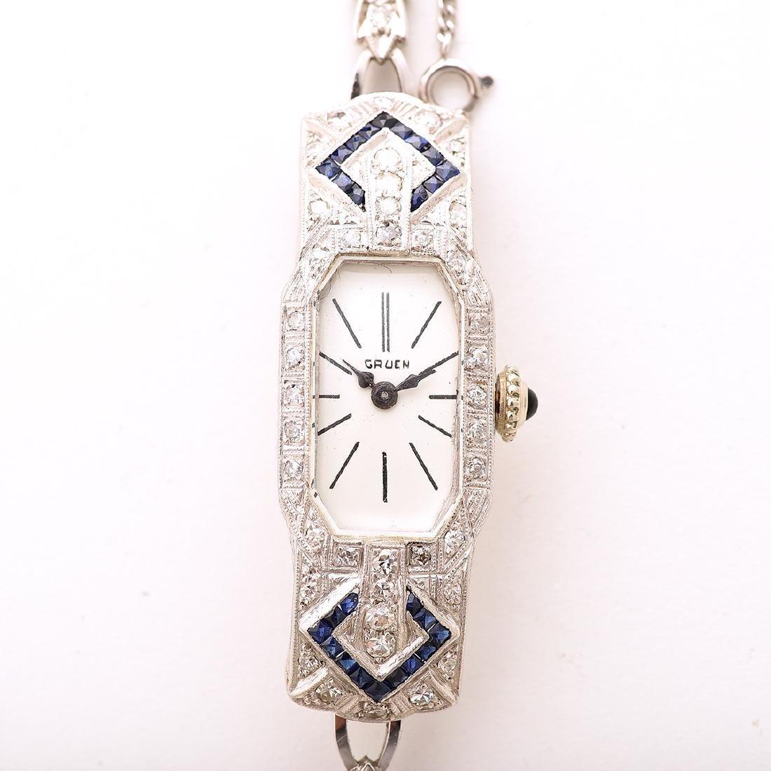 Ladies Diamond, Sapphire, Platinum, 14k White Gold - 2