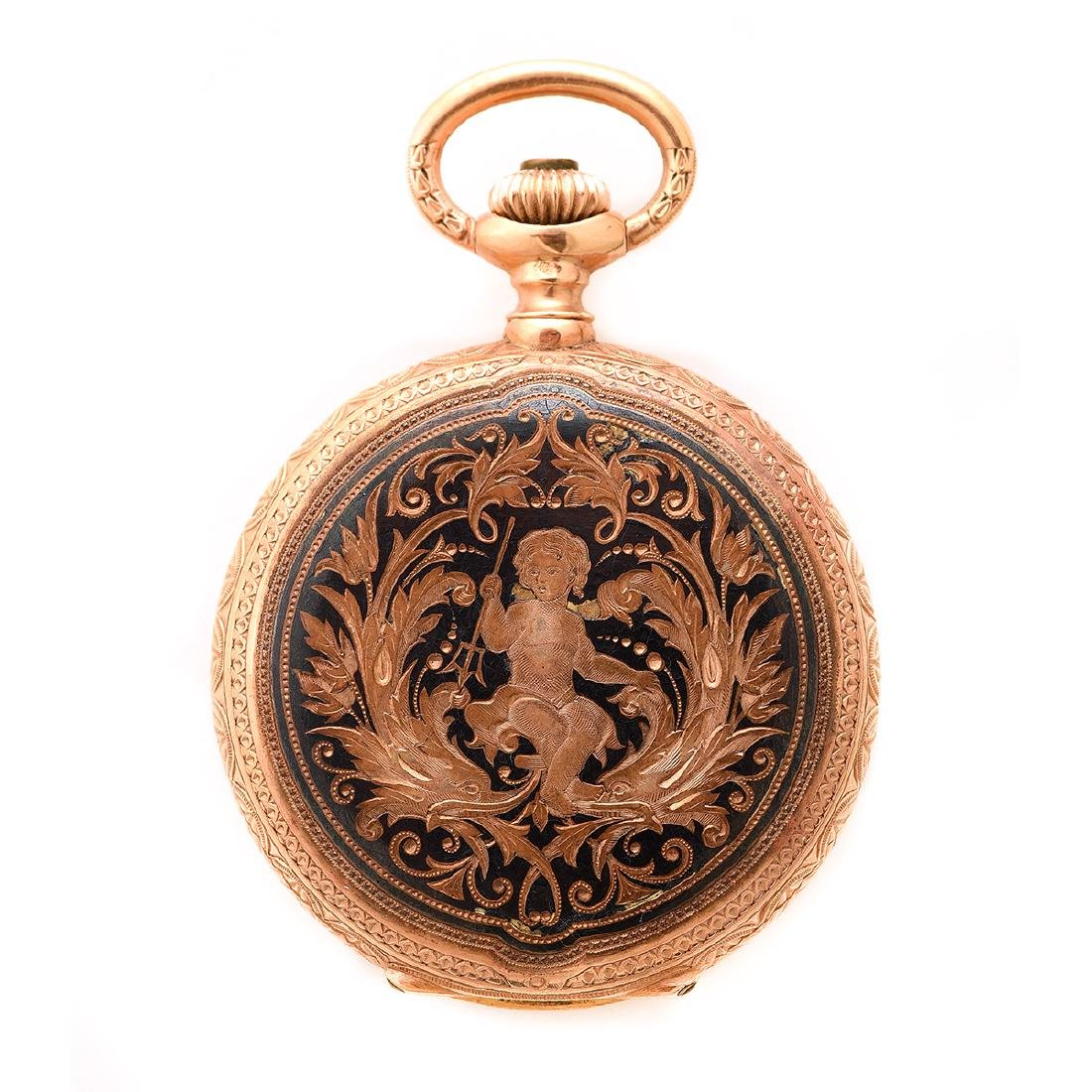 18k Yellow Gold Pocket Watch.