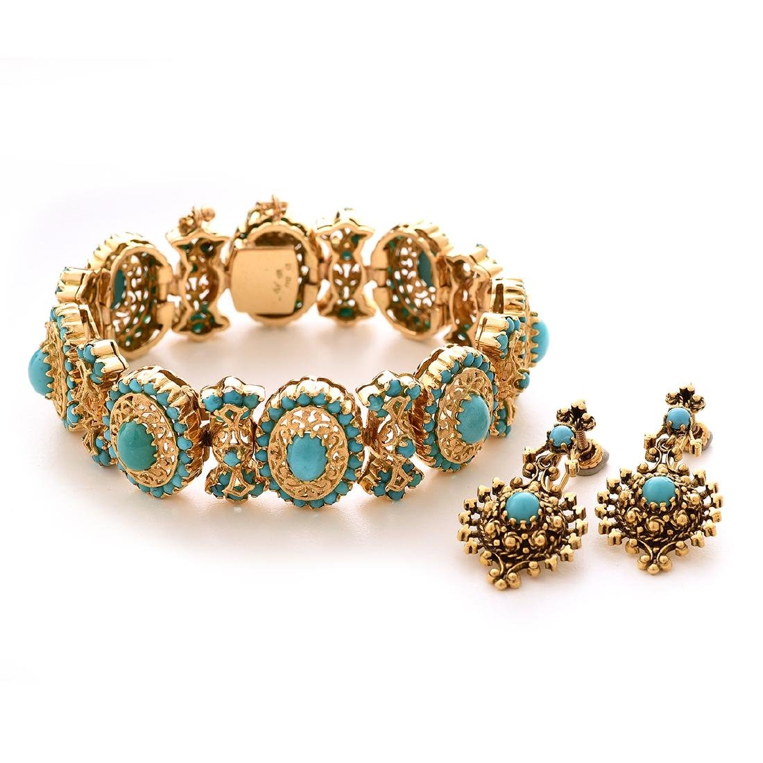 Reproduction Turquoise, Yellow Gold Jewelry Suite.