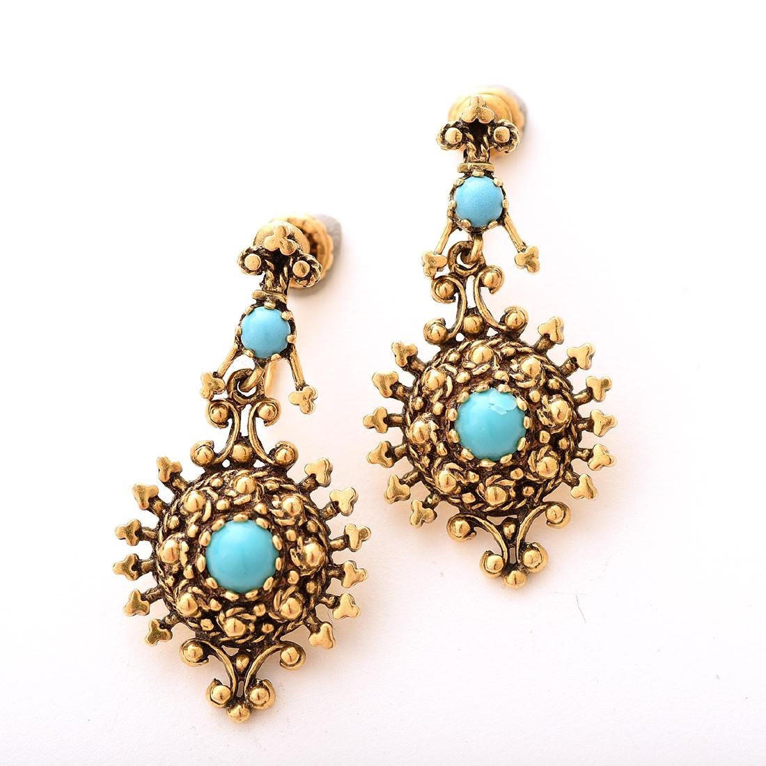 Reproduction Turquoise, Yellow Gold Jewelry Suite. - 2