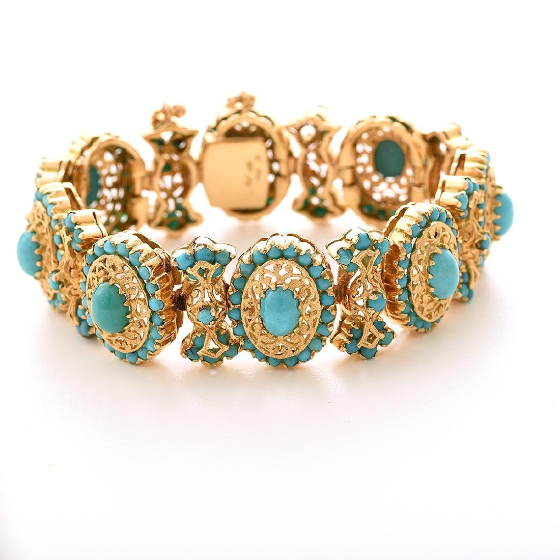 Reproduction Turquoise, Yellow Gold Jewelry Suite. - 3