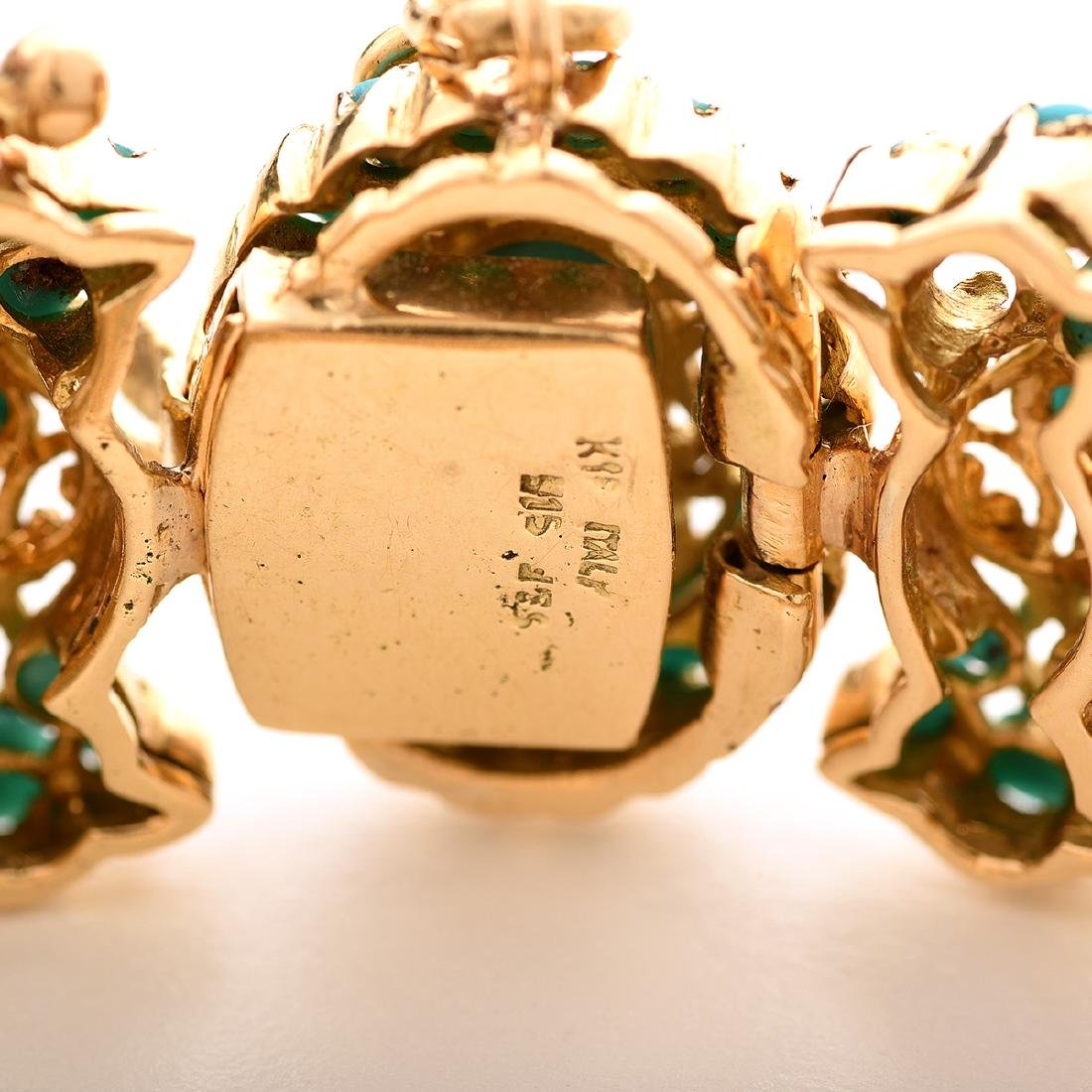 Reproduction Turquoise, Yellow Gold Jewelry Suite. - 4