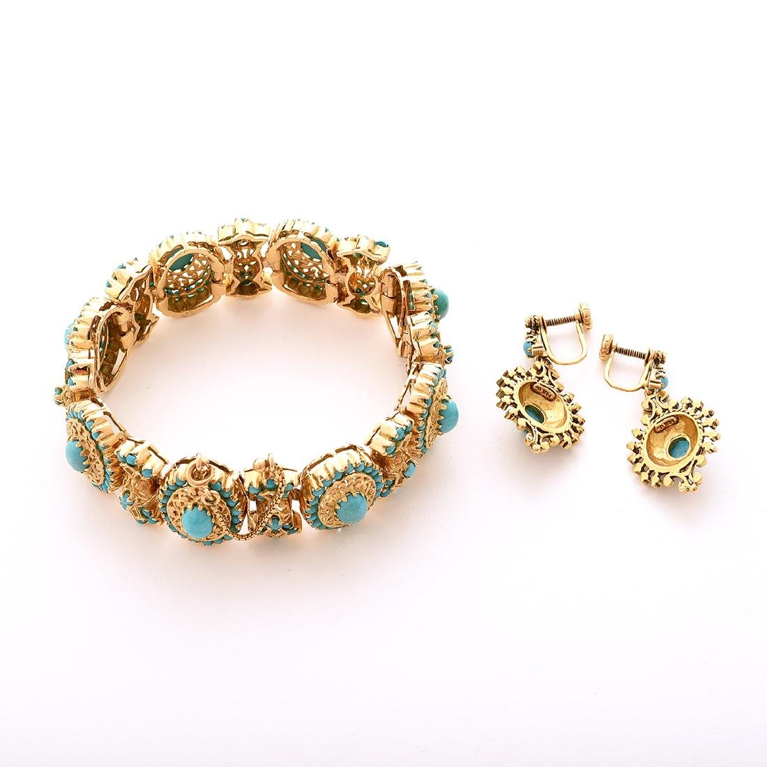 Reproduction Turquoise, Yellow Gold Jewelry Suite. - 5