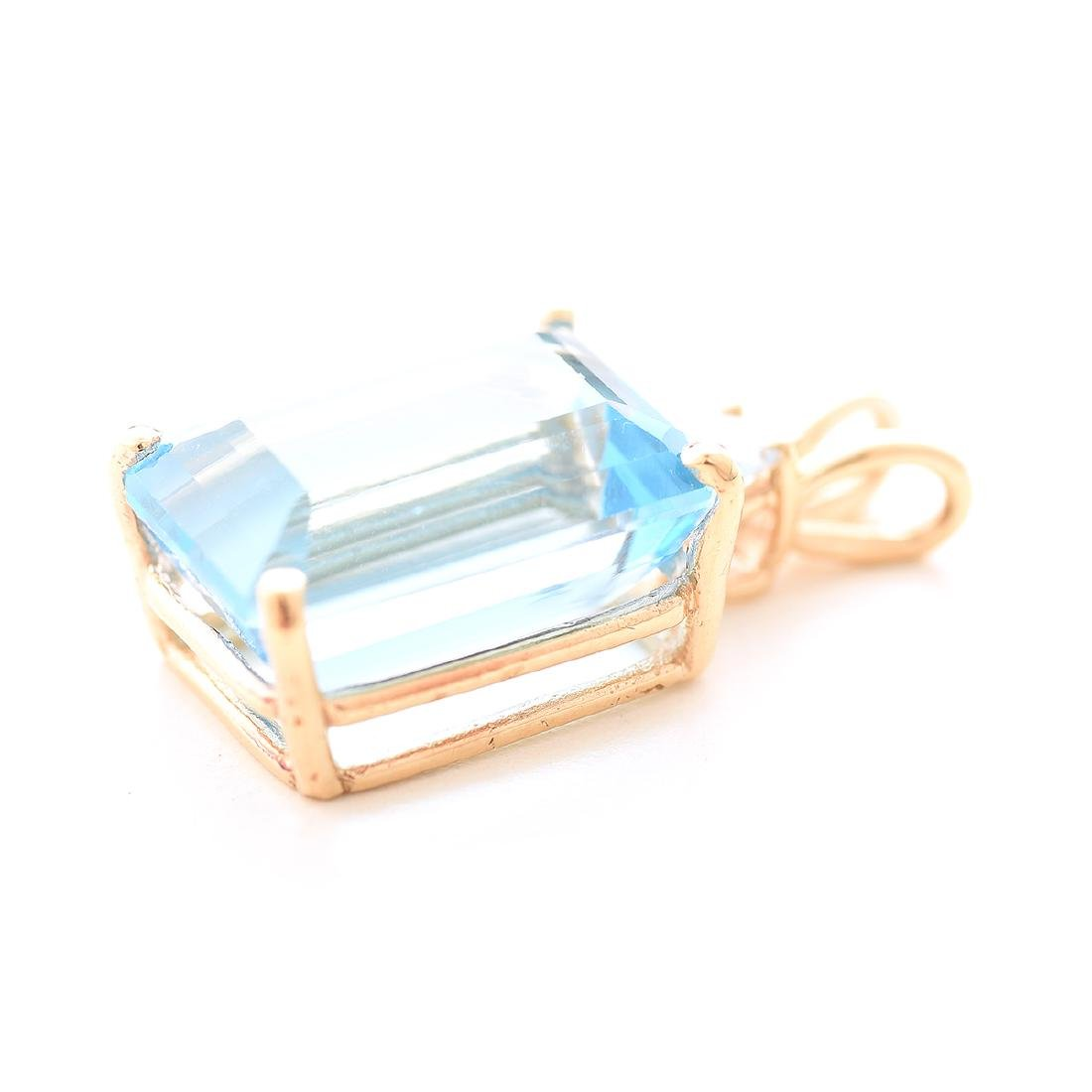 Blue Topaz, Diamond, 14k Yellow Gold Pendant. - 2