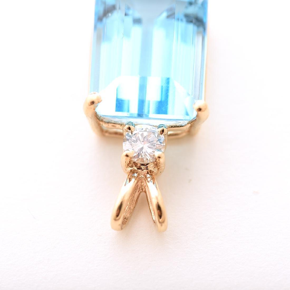 Blue Topaz, Diamond, 14k Yellow Gold Pendant. - 3