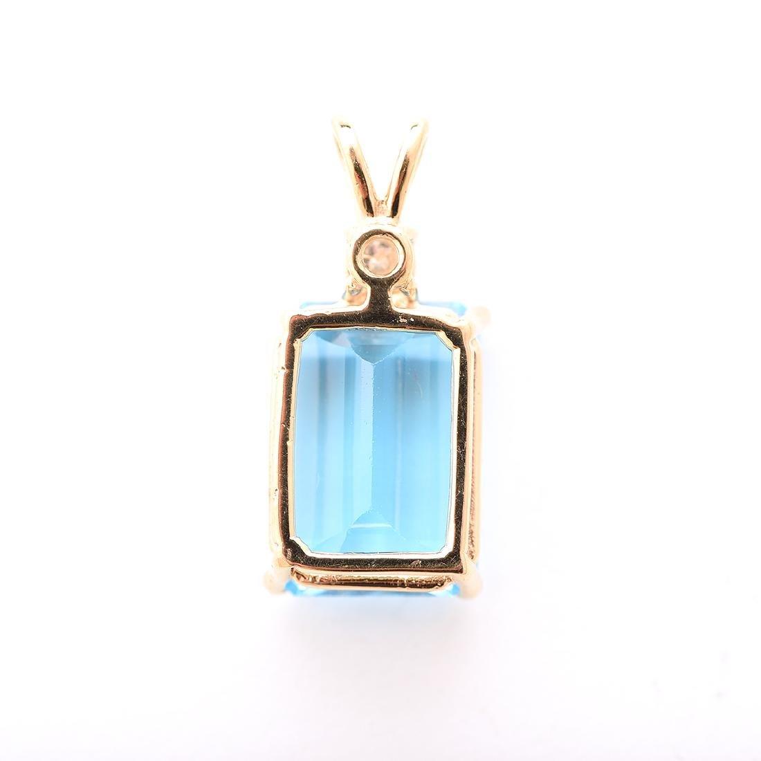 Blue Topaz, Diamond, 14k Yellow Gold Pendant. - 4