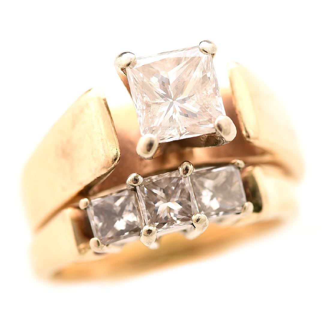 Diamond, 14k Yellow Gold Wedding Ring Set.