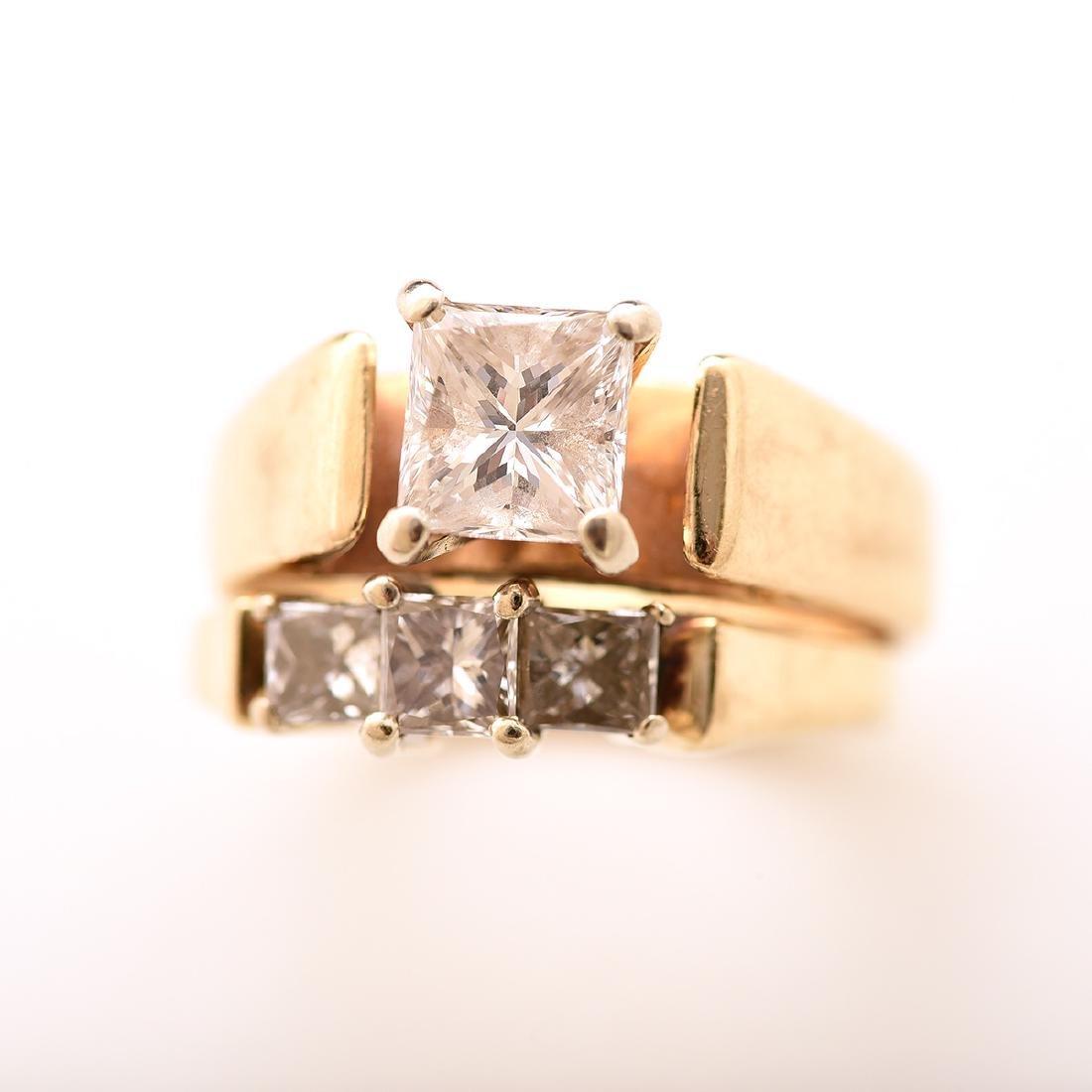 Diamond, 14k Yellow Gold Wedding Ring Set. - 2
