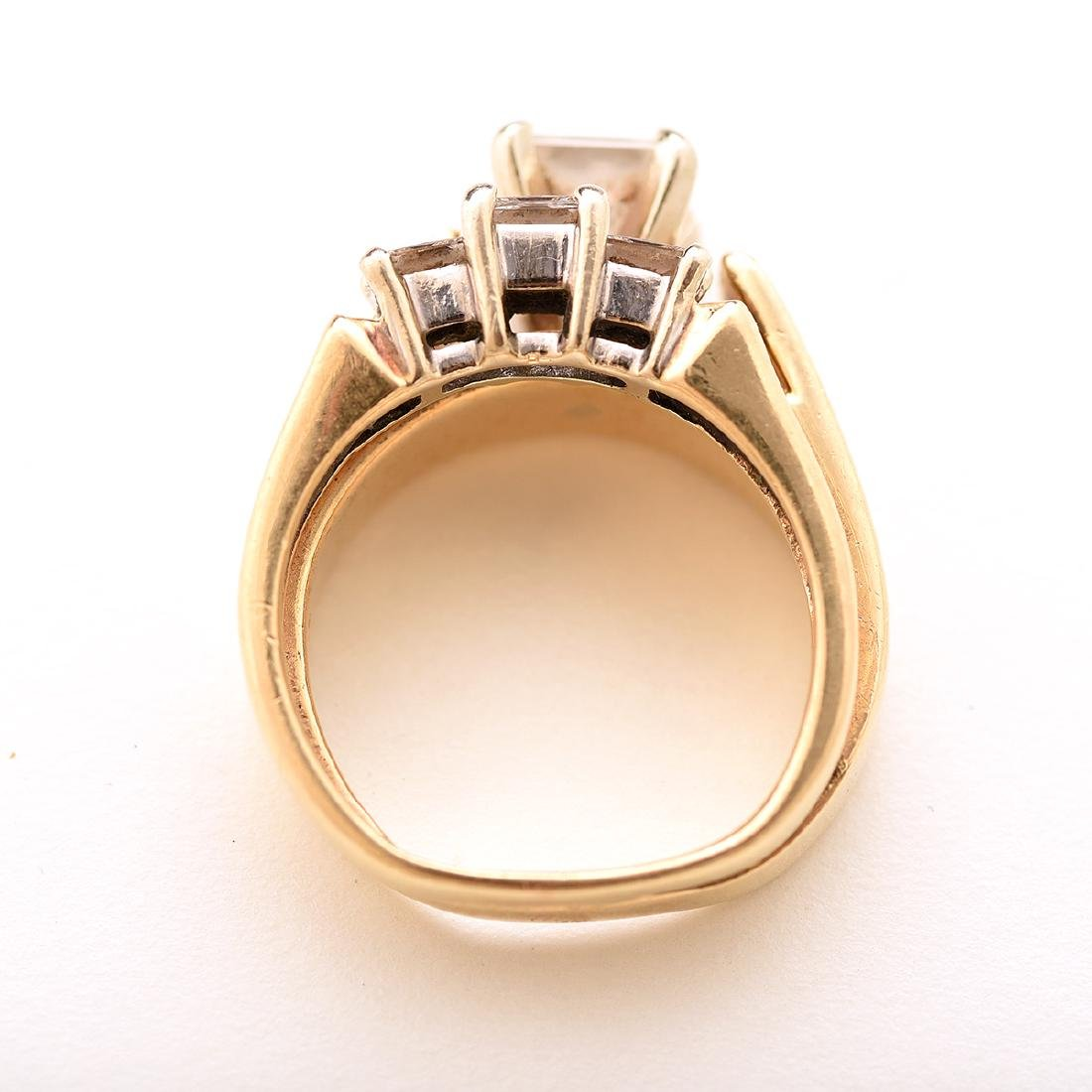 Diamond, 14k Yellow Gold Wedding Ring Set. - 3