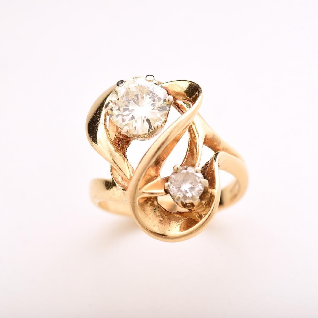 Diamond, 14k Yellow Gold Ring. - 2