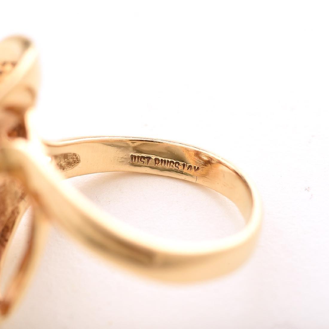 Diamond, 14k Yellow Gold Ring. - 4