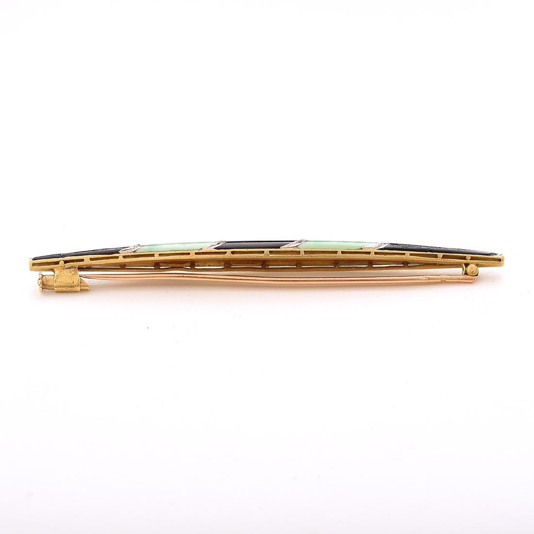 French Art Deco Enamel, Diamond, 18k Yellow Gold Bar - 3