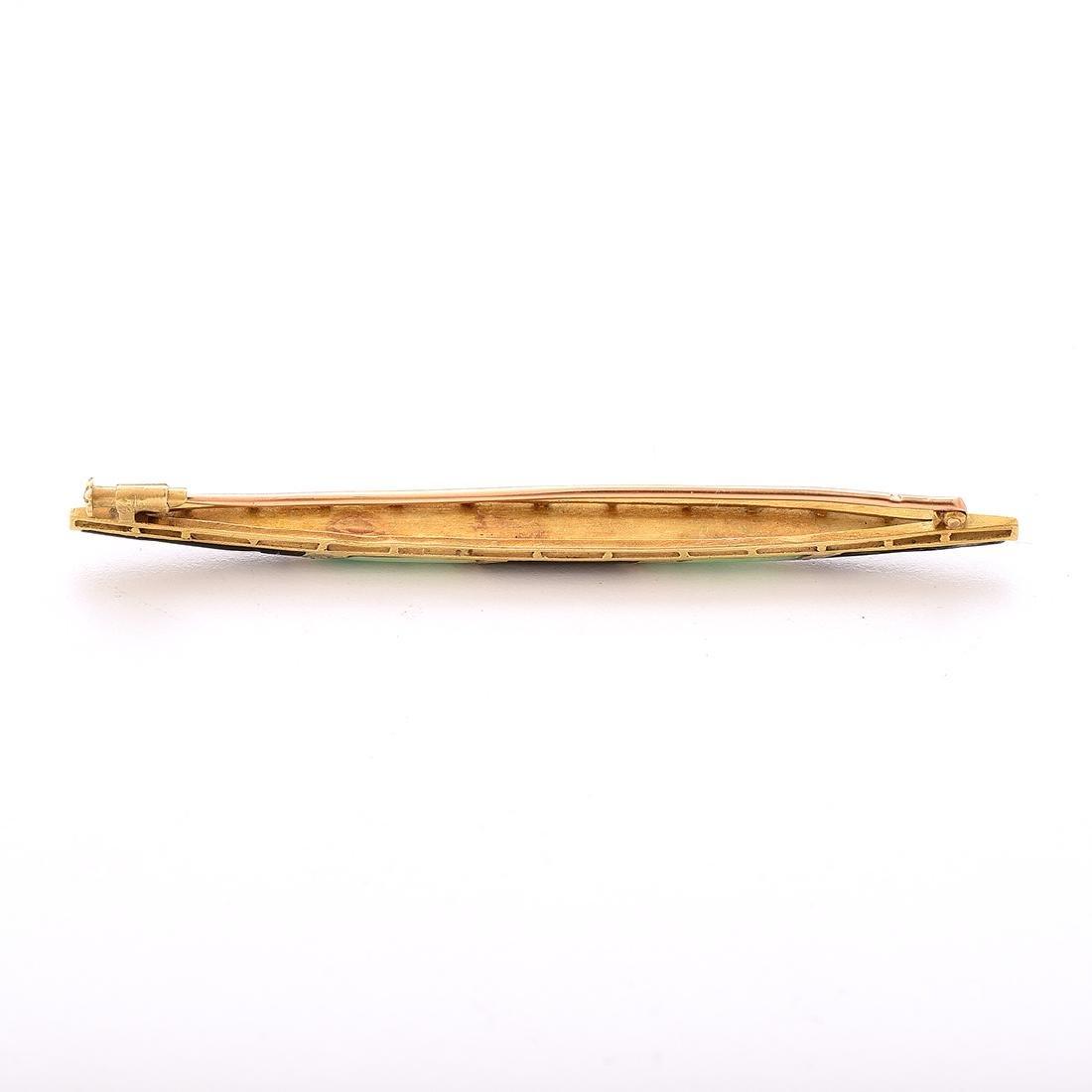 French Art Deco Enamel, Diamond, 18k Yellow Gold Bar - 4