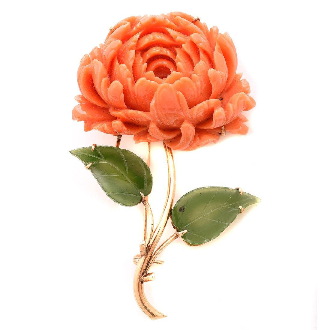 *Coral, Nephrite, 14k Rose Gold Peony Brooch.