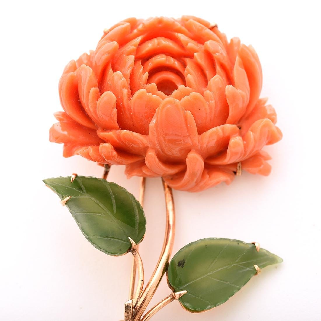 *Coral, Nephrite, 14k Rose Gold Peony Brooch. - 2