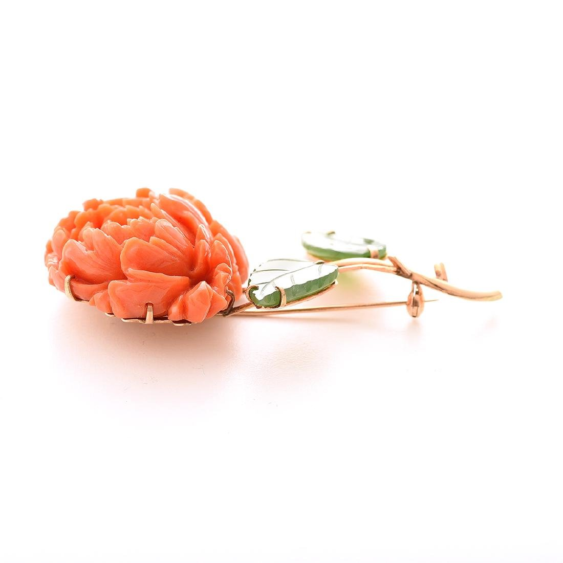 *Coral, Nephrite, 14k Rose Gold Peony Brooch. - 3