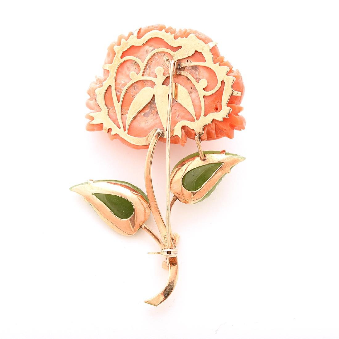 *Coral, Nephrite, 14k Rose Gold Peony Brooch. - 4