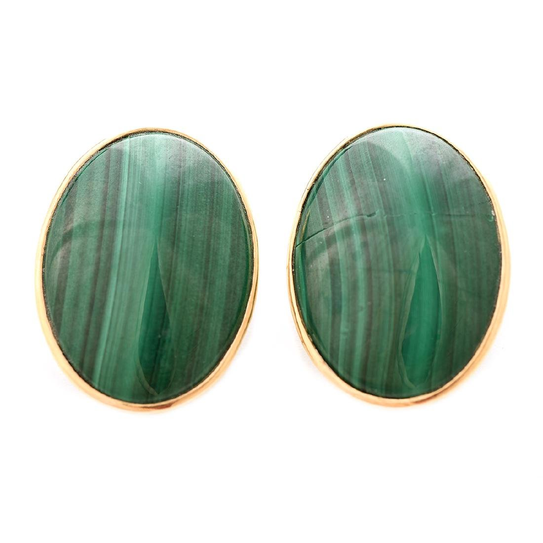 Pair of Malachite, 14k Yellow Gold Earrings.