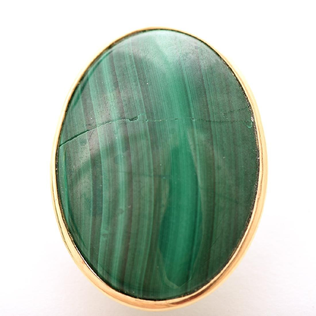 Pair of Malachite, 14k Yellow Gold Earrings. - 2