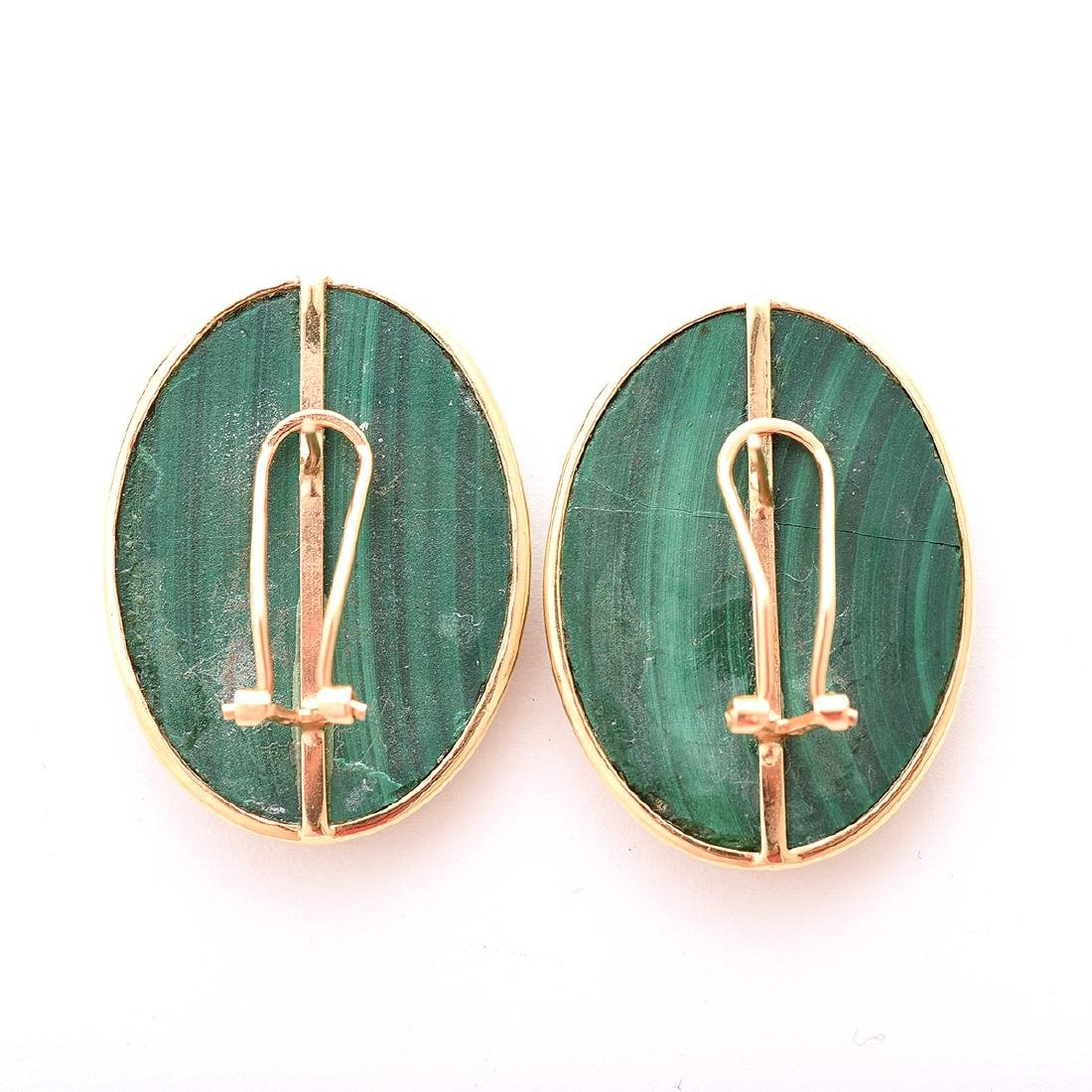 Pair of Malachite, 14k Yellow Gold Earrings. - 4