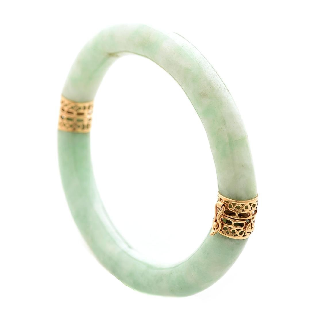 Jade, 14k Yellow Gold Bracelet.