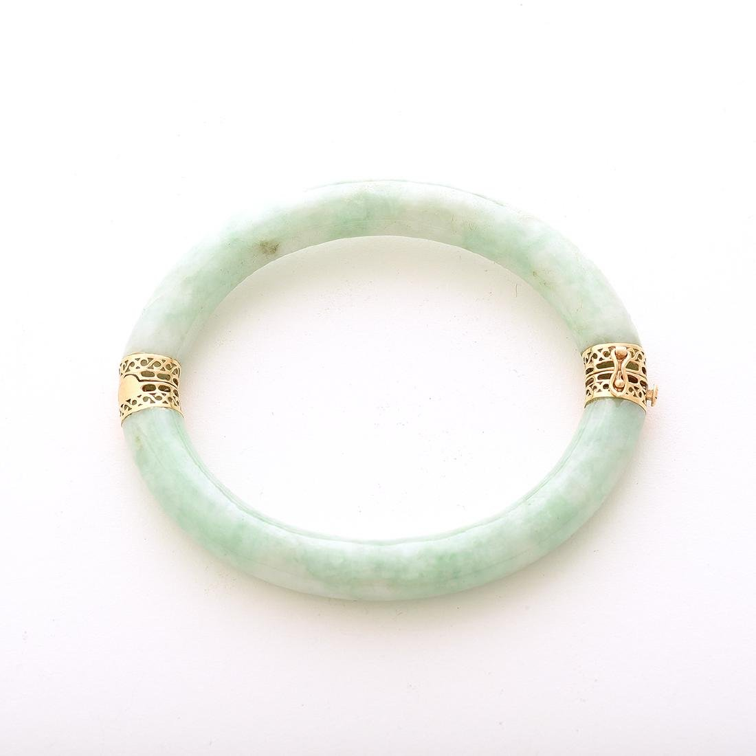 Jade, 14k Yellow Gold Bracelet. - 3