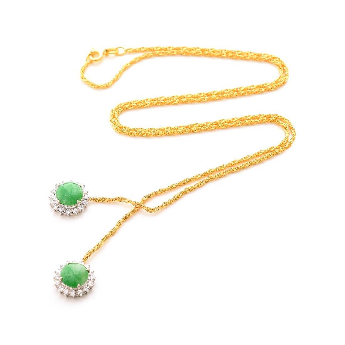 Jade, Diamond, 14k Gold Necklace.
