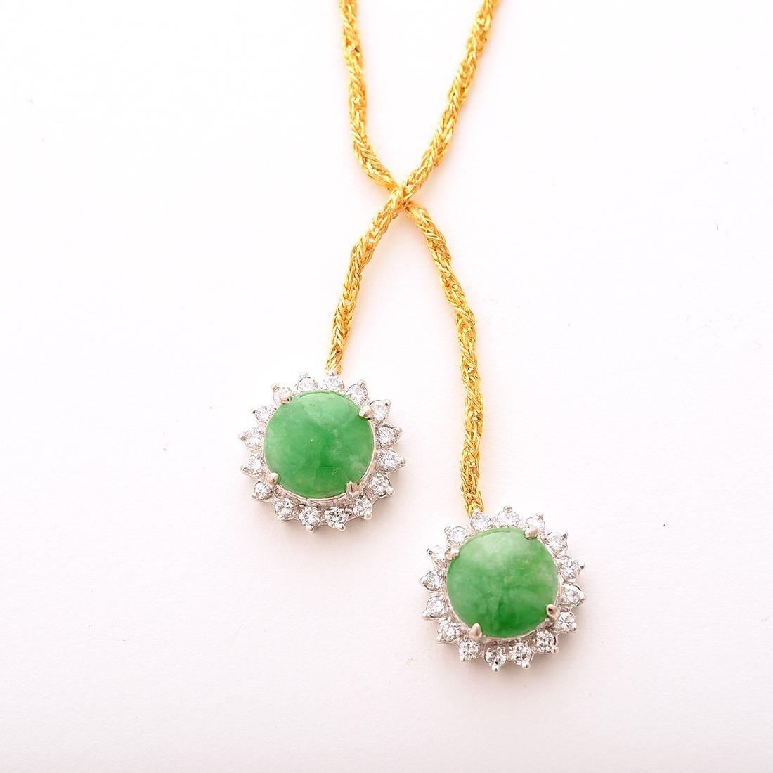 Jade, Diamond, 14k Gold Necklace. - 2