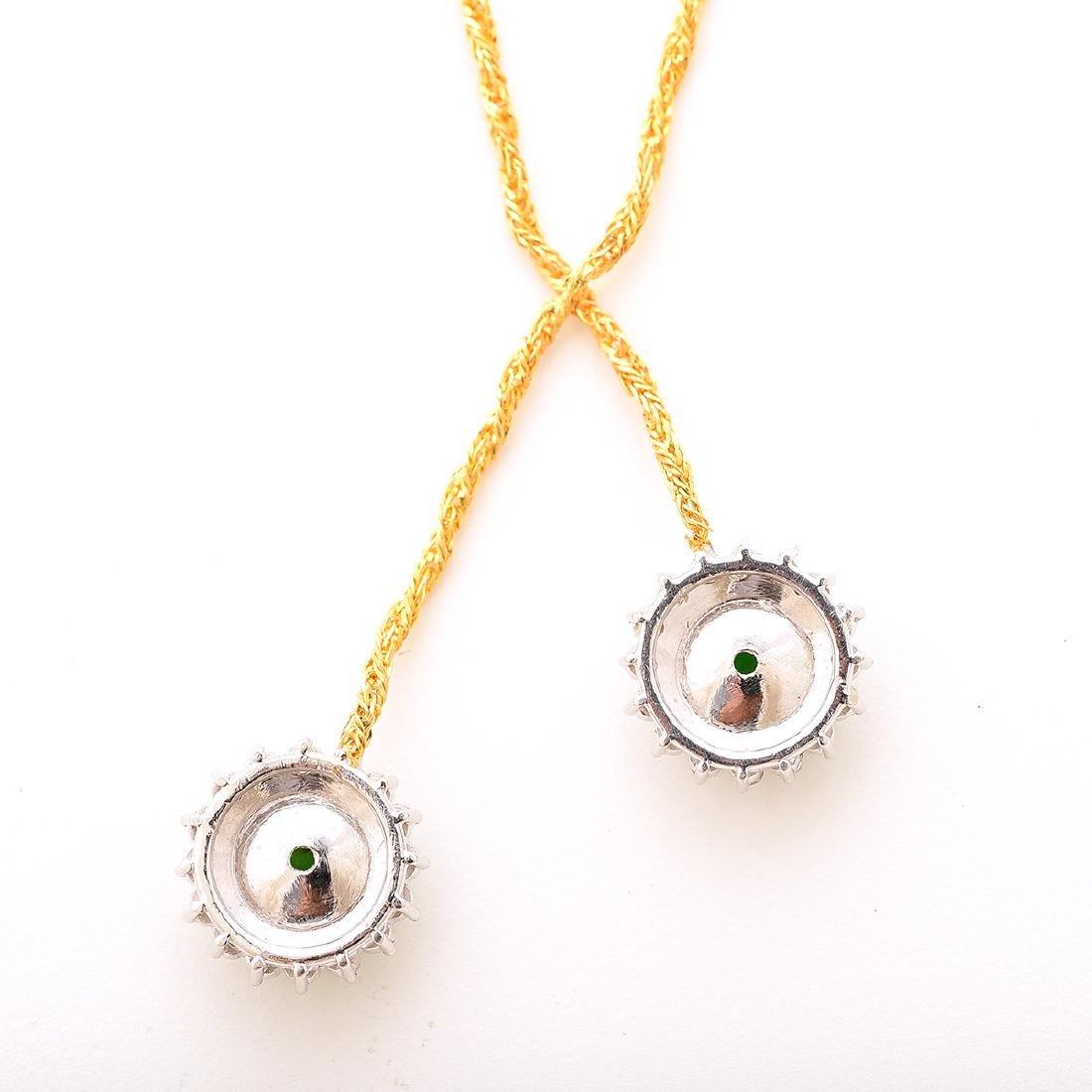 Jade, Diamond, 14k Gold Necklace. - 3
