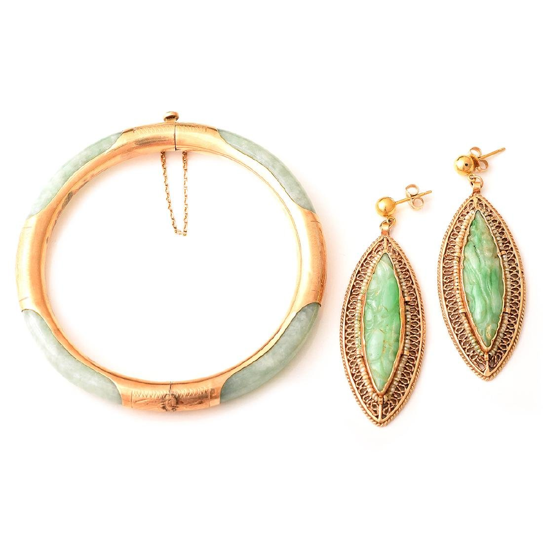 Jade, Seed Pearl, 14k Yellow Gold Jewelry Suite.
