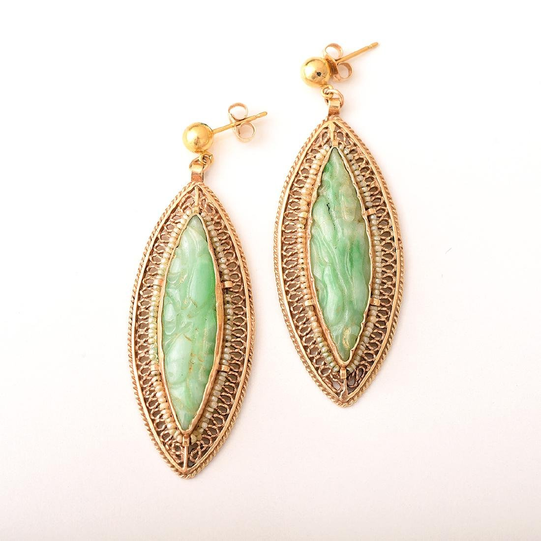 Jade, Seed Pearl, 14k Yellow Gold Jewelry Suite. - 2