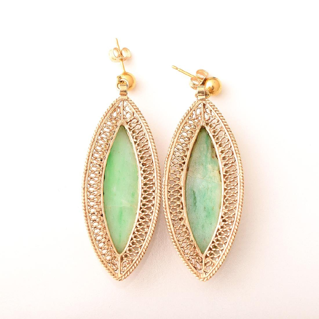 Jade, Seed Pearl, 14k Yellow Gold Jewelry Suite. - 5