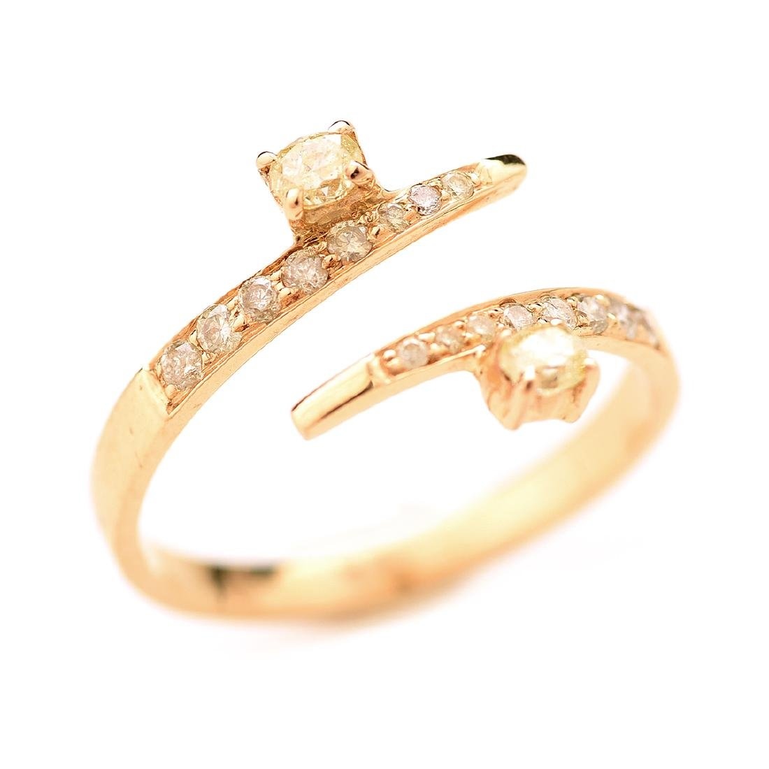 Diamond, 18k Yellow Gold Bypass Ring.