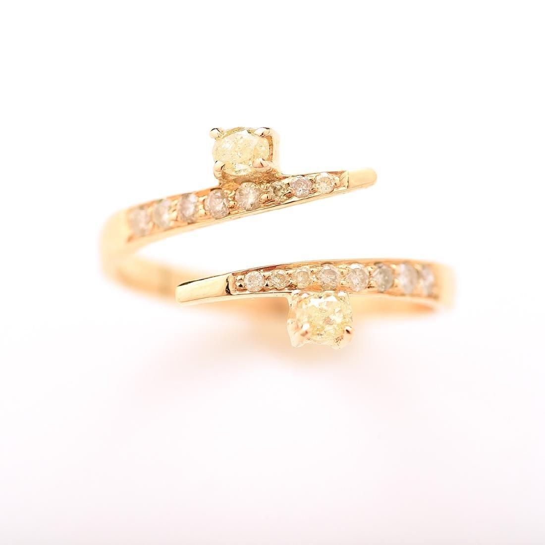 Diamond, 18k Yellow Gold Bypass Ring. - 2